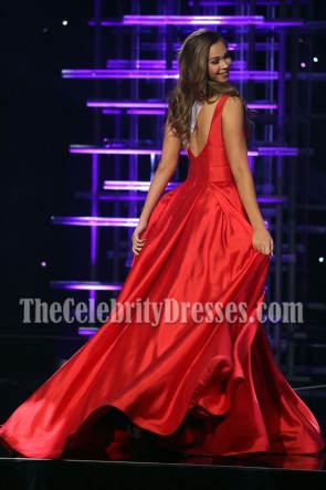 Ellie Picone Red Evening Ball Gown 2016 Miss Teen USA Competition TCD7084