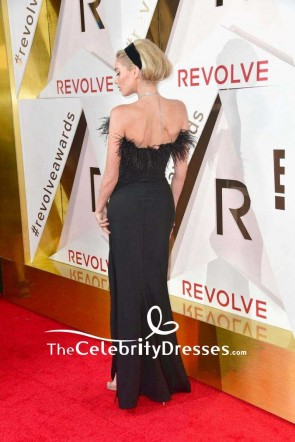 Elsa Hosk Black Strapless Thigh-high Slit Evening Dress #REVOLVEawards Red Carpet TCD7567