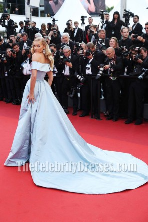 Elsa Hosk Light Sky Blue Off-the-shoulder High Slit Ball Gown 2017 Cannes Film Festival TCD7263