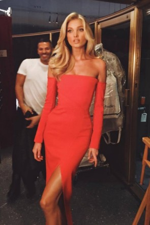 Elsa Hosk Red Off-the-Shoulder High Split Column Dress