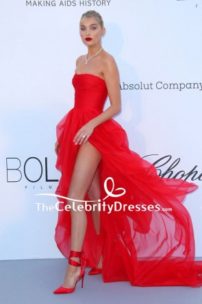 Elsa Hosk Strapless Thigh-high Slit High Low Red Dress 2018 Cannes TCD7996