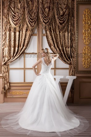 Gorgeous Embroidered A-Line V-Neck Tulle Wedding Dresses