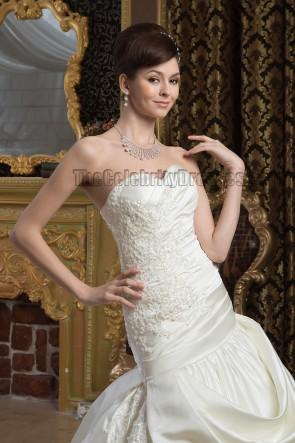 Embroidered Strapless A-Line Chapel Train Taffeta Wedding Dresses