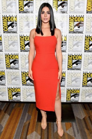 Emeraude Toubia Orange Red Spaghetti Straps High Slit Sheath Comic-Con International 2017