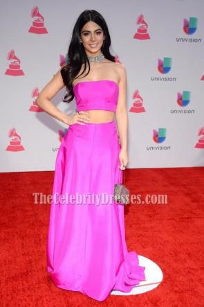 Emeraude Toubia Fuchsia Two Piece Evening Prom Gown 2015 Latin Grammy Awards