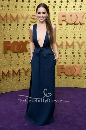 Emilia Clarke Dark Navy Plunge Dress 2019 Emmys Awards