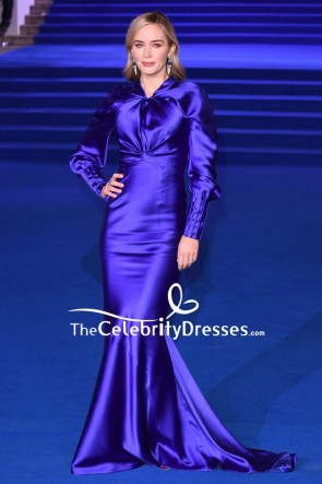 Emily Blunt Royal Blue Mermaid Evening Dress Premiere Of Mary Poppins Returns