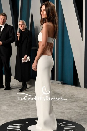 Emily Ratajkowski Sexy Ivory Evening Dress 2020 Vanity Fair Oscar Party