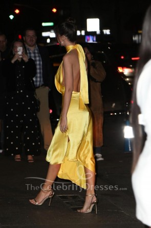 Emily Ratajkowski Yellow V-neck Asymmetrical Hemline Prom Dress TCD8787
