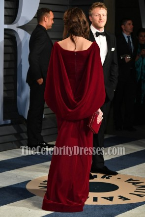 Emily Ratajkowsk Burgundy Caped Sleeves Velvet Evening Formal Dress 2018 Vanity Fair Oscar party TCD7798