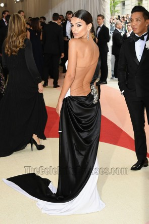 Emily Ratajkowski Black And White One-shoulder Thigh-high Slit Evening Dress 2016 Met Gala TCD7391
