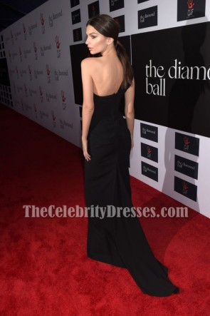 Emily Ratajkowski Black One-shoulder Evening Prom Gown Diamond Ball 2015 TCD6878