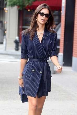 Emily Ratajkowski Dark Navy Belt Striped Blazer