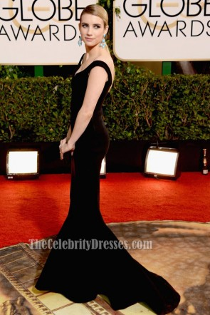 Emma Roberts 2014 Golden Globe Awards Black Formal Dress