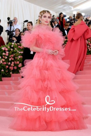 Emma Roberts Long Sleeves Ruffled Princess Ball Gown Evening Dress 2019 Met Gala 2019