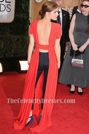 Emma Watson Red Backless Prom Dress 2014 Golden Globe Awards Red Carpet