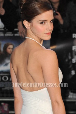 Emma Watson White Halter Prom Dress Evening Gown Noah premiere