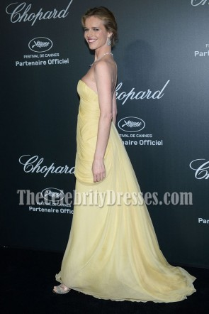 Eva Herzigova Yellow Strapless Formal Dress 2014 Cannes Film Festival TCD6927