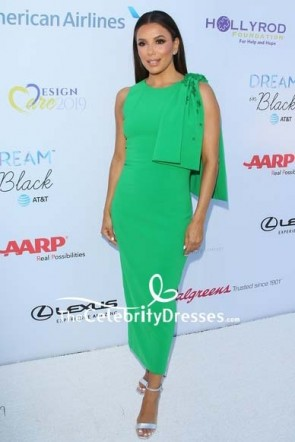 Eva Longoria Bowed Shoulder Green Dress 2019 DesignCare Gala