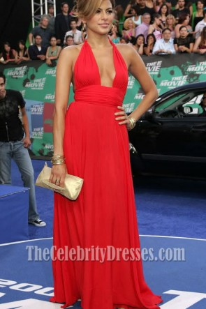 Eva Mendes Deep V-neck Halter Red Prom Dress 2006 MTV Movie Awards