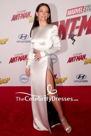 Evangeline Lilly Silver Column Evening Formal Dress Red Carpet Gown