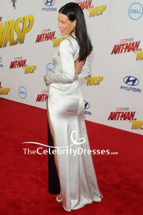 Evangeline Lilly Silver Column Evening Formal Dress Red Carpet Gown TCD7911