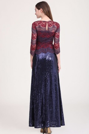 Fabulous Two-tone Sequined Prom Dress With Sleeves