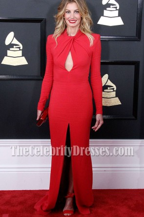Faith Hill Red Long Sleeves Cutout Slit Evening Dress 2017 GRAMMY Awards TCD7144