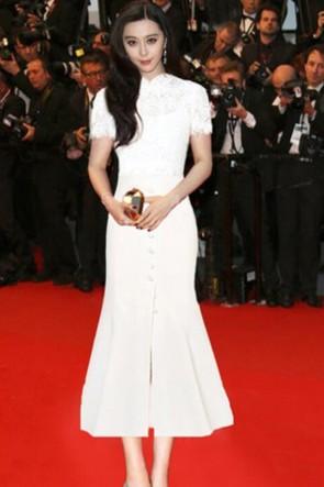Fan Bingbing White Mermaid Pary Dress