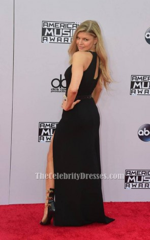 Fergie Black Side Slit Formal Evening Dresses 2014 American Music Awards Red Carpet TCD6100