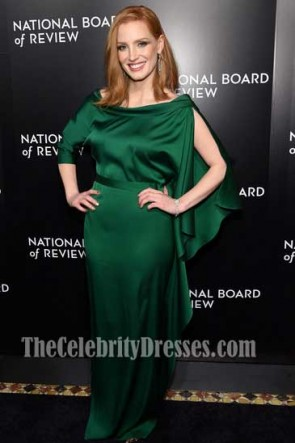 Jessica Chastain Dark Green Sleeves Evening Dress 2016 National Board of Review Gala