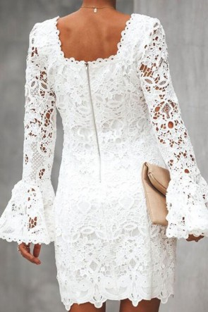 Flared Sleeves Lace Dress