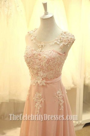 Floor Length Pearl Pink Prom Gown Bridesmaid Dresses TCDFD7376