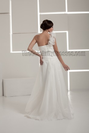 Floor Length A-Line One Shoulder Wedding Dresses