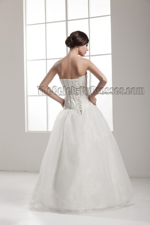 Floor Length A-Line Strapless Lace Up Wedding Dress With Beading