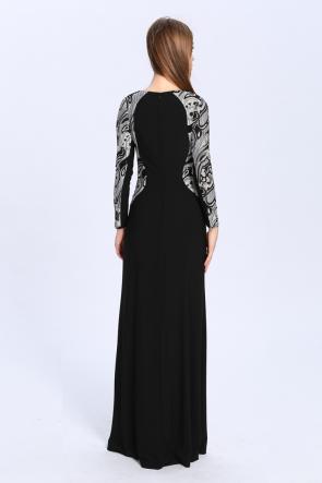 Floor Length Black Long Sleeve Formal Dress Evening Gown TCDBCk421