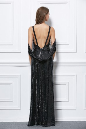 Floor Length Black Sequined Backless Evening Gown Prom Dress TCDBF435