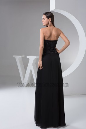 Floor Length Black Strapless Evening Dress Prom Gown