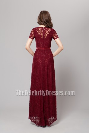 Floor Length Burgundy Lace Prom Gown Evening Dresses