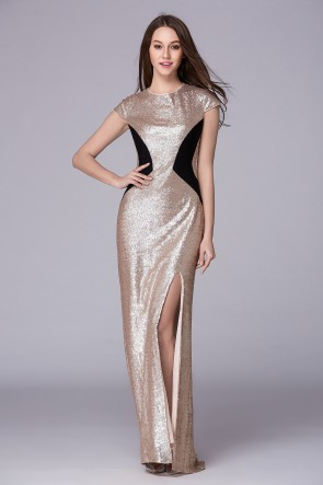 Floor Length Cap Sleeve Prom Gown Evening Dress TCDBF5005
