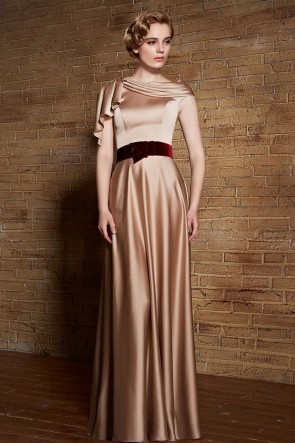 Floor Length Champagne Formal Dress Evening Prom Gowns