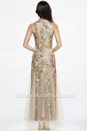 Floor Length Champagne Sequined Sleeveless Formal Dress Evening Gowns TCDBF073