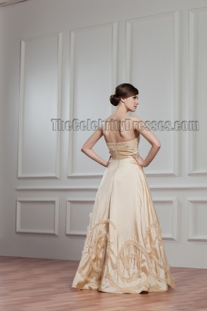 Floor Length Champagne Strapless Beaded Bridal Gown Wedding Dress
