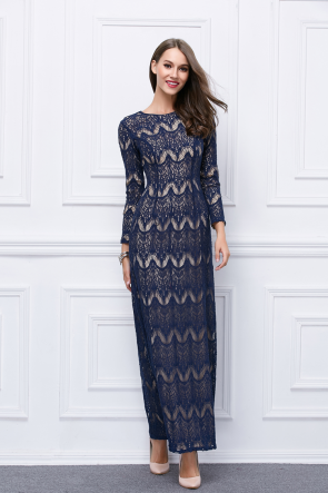 Floor Length Dark Navy Lace Long Sleeve Evening Formal Dresses TCDBF451