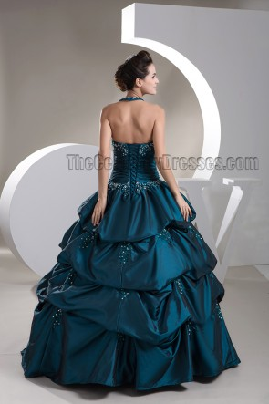 Floor Length Halter Beaded Ball Gowns Formal Dresses