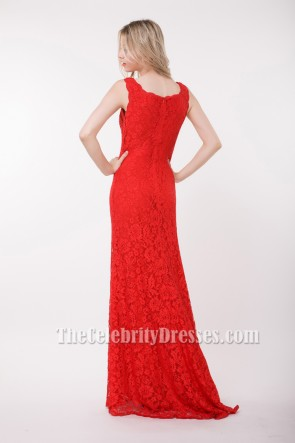 Elegant Floor Length Red Lace Prom Gown Evening Dresses
