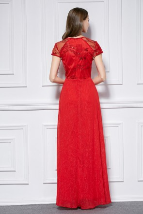 Floor Length Red Short Sleeve Formal Dress Prom Gown TCDBF441