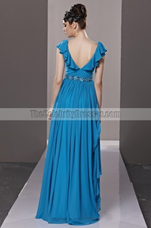 Floor Length Royal Blue Low Back V-Neck Evening Prom Dresses