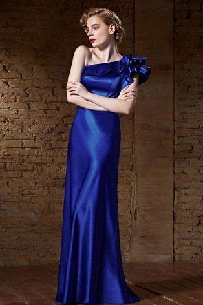 Floor Length Royal Blue One Shoulder Evening Formal Dresses TCDC30855