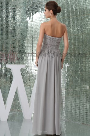 Floor Length Silver Strapless Bridesmaid Prom Dresses